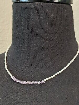 "Suzanne Kalan Freshwater Pearl Amethyst Sterling Silver 925 16"" Necklace"