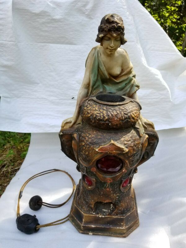 Antique 1926 Chalkware Art Deco Nude Woman Incense Burner Wishing Well Mystical