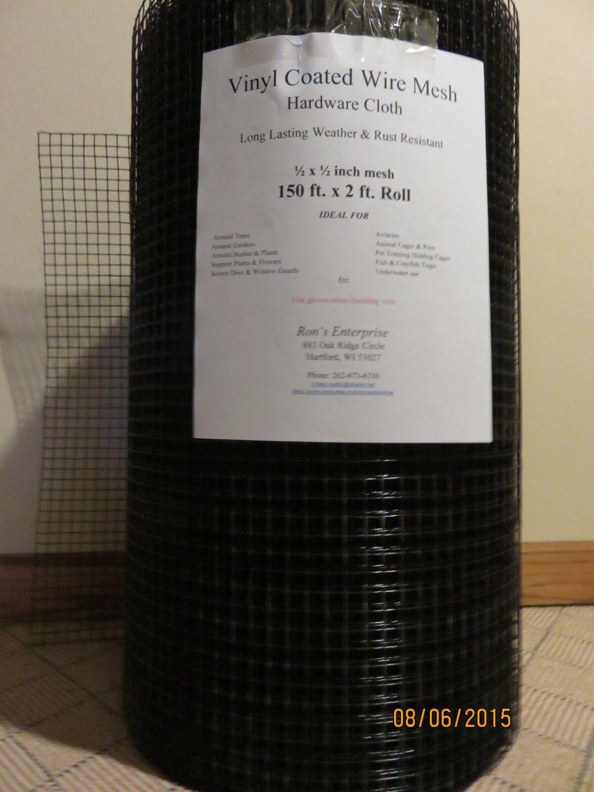 150 ft  x 2 ft  Roll 21 gauge 1/2 inch Vinyl Coated Wire mesh