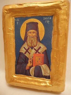 Saint Nectarios Agios Nektarios Greek Eastern Orthodox Icon Art Plaque