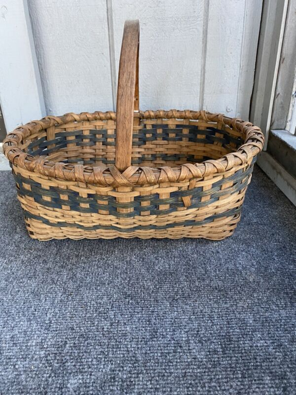 Antique Primitive Basket With Blue Aafa
