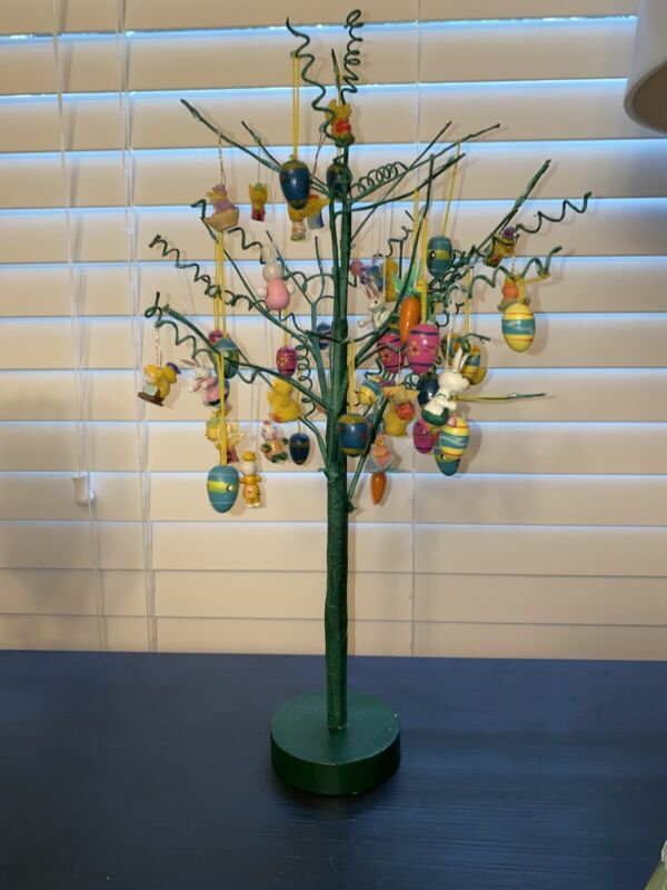 """Vintage Easter tree 16.5"""" tall w/ Lots wooden And Resin Easter ornaments"""
