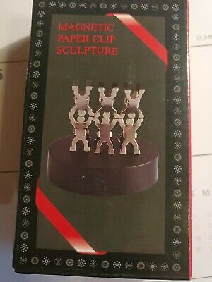 Magnetic Paper Clip Holder Sculpture W 6 People Clips And Base