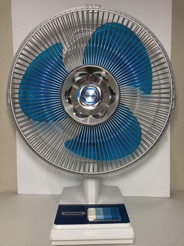 Vtg Panasonic F-1206 5 Way Oscillating 3 Speed Blue Blade Fan Quiet Beautiful
