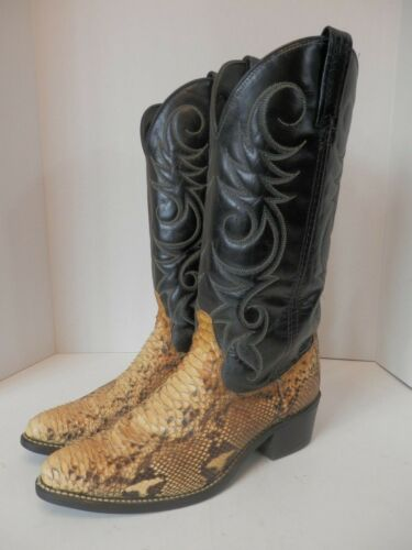 Ariat, Snakeskin, Black, Leather, Cowboy, Boots, Size, Mens, 7.5D-EUC-Free, Shipping