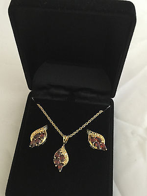 New women red garnet set necklace and earring set gold plated in velvet gift box Garnet Necklace And Earring Set