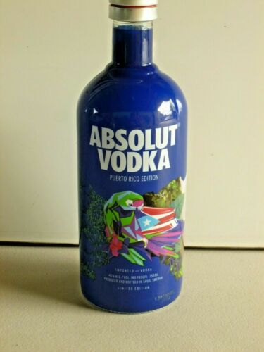 Absolut Vodka Puerto Rico Limited Edition with the flag, the parrot & flower
