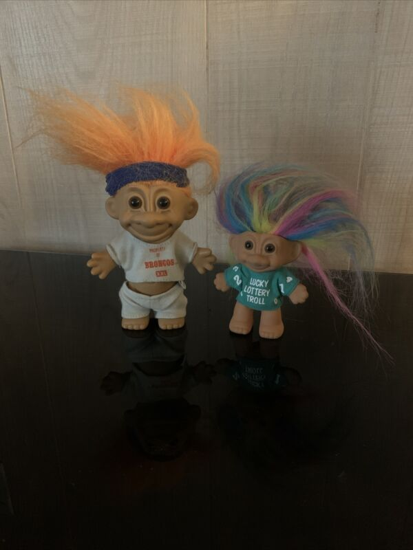 Vintage Troll Dolls Lucky Lottery Troll and Denver Broncos