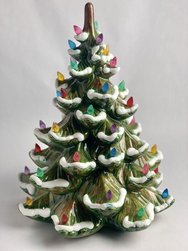 "Vintage Porcelain Christmas Tree Snow Flocked Multicolor Lights (No Base) 14"""