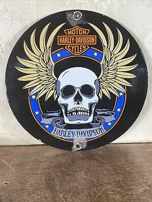 VINTAGE ''HARLEY-DAVIDSON'' GAS & OIL DEALER PLATE PORCELAIN SIGN 10 INCH USA