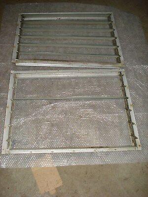 2 VINTAGE ALUMINUM LOUVERED TRAVEL TRAILER WINDOW  29 3/4 x 22 W/Screens
