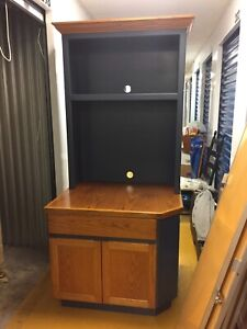 TV Hutch and Bookcase - 2 Separate Units- Blue and Oak!