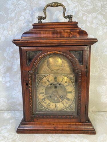 "Joseph Pretschgo Mahogany Bracket Clock, 15"" h x 9-1/2"" w x 5"" d"