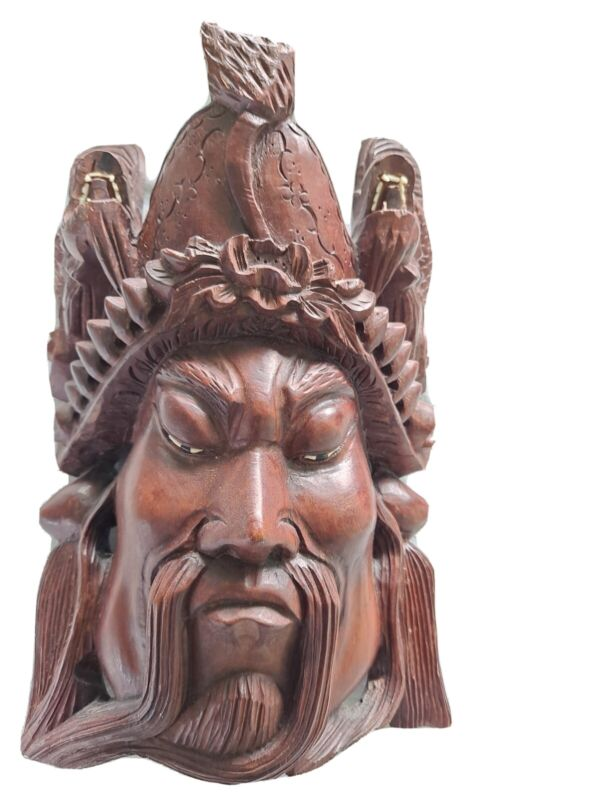 """Vintage Chinese Asian Oriental Wooden Hand Carved Mask  Wall Décor 10 1/2 """""""