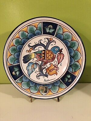 Vtg CAFF Gubbio Italy Pottery Signed Plate Pigeon With Leaf, Renzo Carli, 9 3/4""