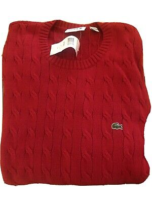 Lacoste Red Cable Knit Pullover Cotton Crew Neck Sweater Men's Size 8 #XL XXXL