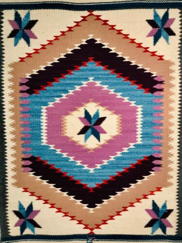 1 - OUTSTANDING VINTAGE NEW MEXICAN/MEXICAN HANDWOVEN WOOL THROW WITH INDIGO