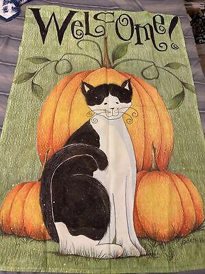 beth yarbrough Design Large Garden Flag Cat Fall Pumpkin Halloween