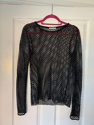 Zara Black Fishnet Top Size Large #ibiza