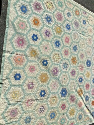 Antique  Handmade Quilt in the beautiful soft greens  size 88 x  98 inches