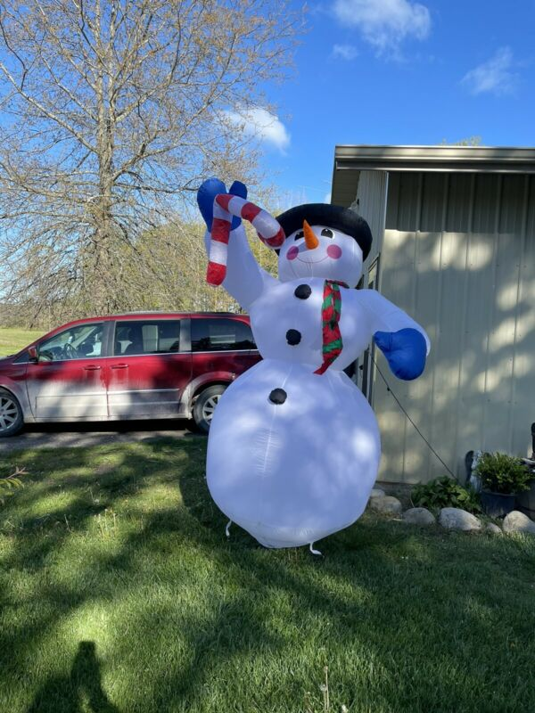 Vtg Gemmy Frosty The Snowman 8 Ft Black Hat Airblown Inflatable Christmas w box