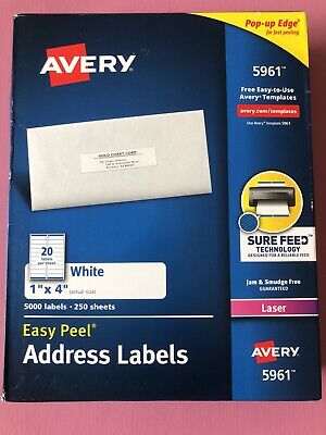 Avery 5961 White Easy Peel Address Labels-250 Sheets5000 Labelsfree Ship