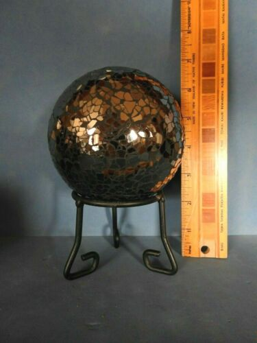 SMALL BLACK  METAL DISPLAY STAND  for SPHERE , BALL, rock