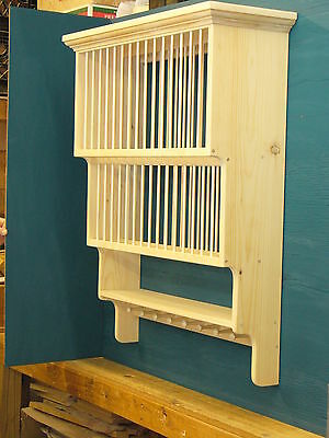 3 Tier SHAKER PEG Crown moulding Wood cup Plate Dish Rack shelf Cabinet kitchen