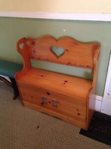 Vintage Solid Pine Hand Crafted Deacons Bench With Storage