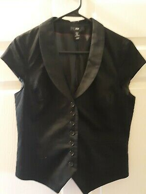 Ladies Top H&M Size M Black Short Capped Sleeve Button Front