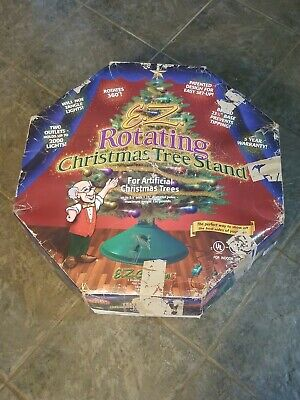 EZ Rotating Christmas Tree Stand Artificial 2 electrical outlets MISSING COLLAR
