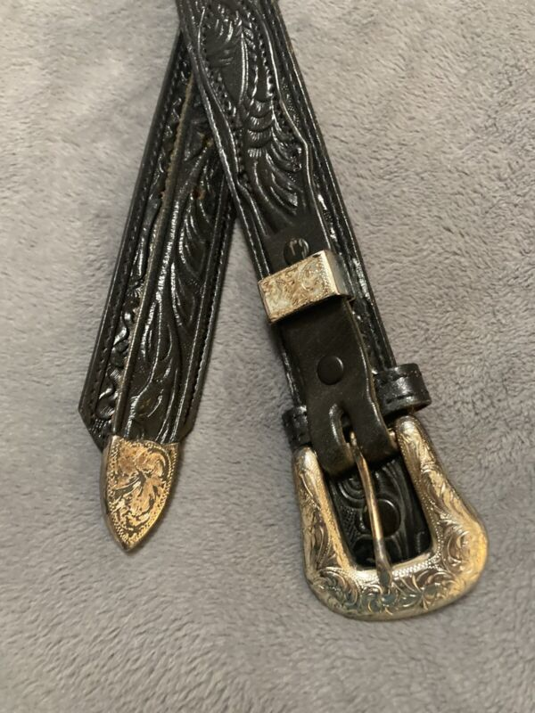 NOCONA BELT CO Unisex Sz 34 Black Western Tooled Leather Belt Silver Buckle