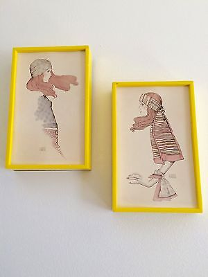 Vintage A Gruerio Lithograph Print Wall Hanging Picture Mod Art Deco 1970's Girl