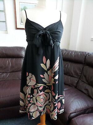 Ted Baker 100% Silk Dark Brown Knee Length Dress Weddings Party  Size 3 (Uk 12)