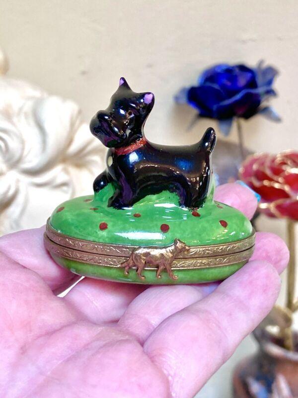 Darling Limoges Porcelain Signed Scottish Terrier Dog Hand-Painted Box