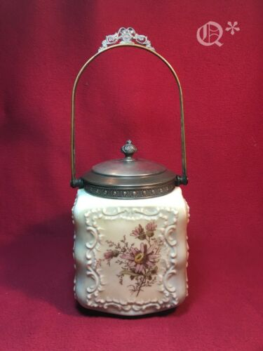 Antique 1900s Biscuit Porcelain Hand-Painted Jar with Lid