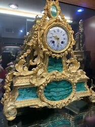 LARGE ANTIQUE FRENCH MALACHITE & GILDED BRONZE MANTEL CLOCK BY HENRY PICARD