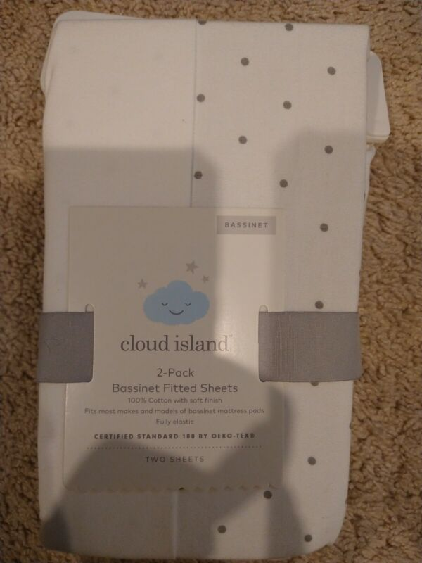 Fitted Oval Bassinet Sheets Dots & Solid 2pk - Cloud Island™ Gray/White