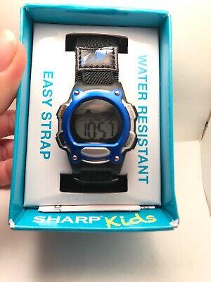 SHARP KIDS DIGITAL SPORT WATCH BLACK NYLON BAND BLUE ACCENTS ALARM, CHRONO H75 Accented Digital Sport Watch