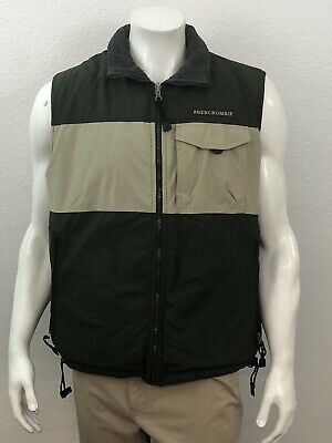 Abercrombie & Fitch Men's Vest Green Tan Outdoor Jacket Sleeveless Hiking Size M