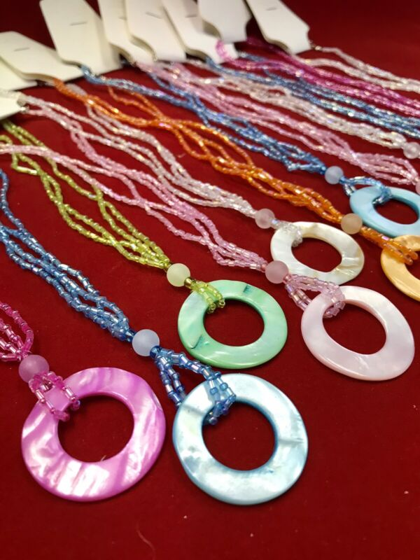 Wholesale Dozen $107 Value (12) Mother of Pearl Seed Bead Necklaces