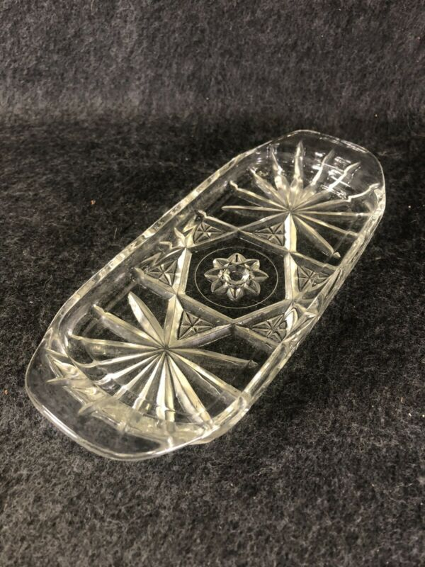 Vtg Anchor Hocking Star of David Butter Dish Bottom Early American Prescut Glass