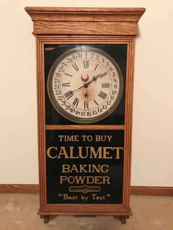 ANTIQUE ADVERTISING CALUMET BAKING POWDER GENERAL STORE CLOCK