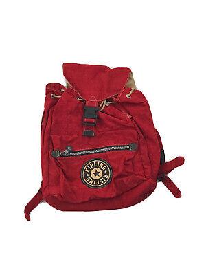 Vintage 1990's KIPLING Large Backpack Laptop School Bag Red