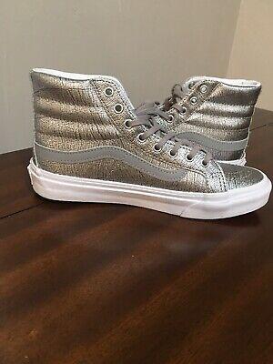 Custom Vans Unisex Silver #1 Skateboard Tennis Shoes Mens 5 Women Size 6.5