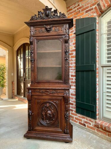 Antique French Hunt Cabinet Bookcase Black Forest Carved Oak Glass Display