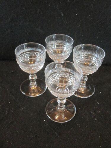 SET 4 ANTIQUE 19TH C HAND BLOWN CUT GLASS PORT SHERRY WINE GLASSES ANGLO IRISH