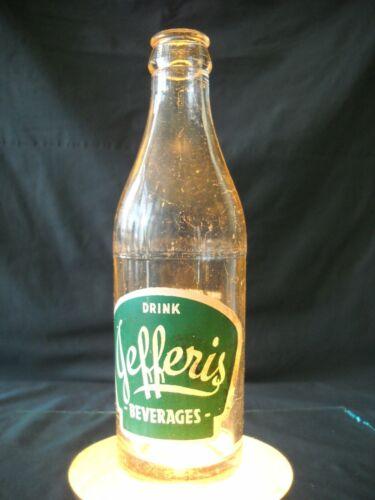 VINTAGE DRINK JEFFERIS BEVERAGES ACL CLEAR GLASS SODA BOTTLE COCA COLA BOTTLING