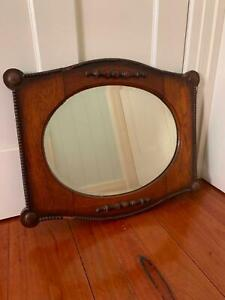 Vintage Antique Polished Wooden Mirror.