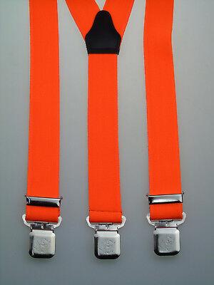 starke Y-Hosenträger 35 mm breit Krallenclips Neon Orange extra starke Clips
